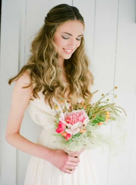 pinned up tousled waves ideas for brides