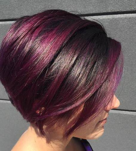 purple side part medium bob hairstyles