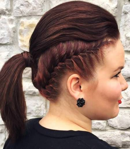 sculptural punky ponytail french braid ponytails