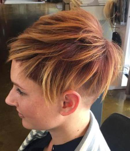short red and blonde undercut balayage short hair looks