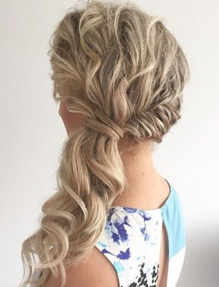 side swept curly ponytail messy ponytail hairstyles