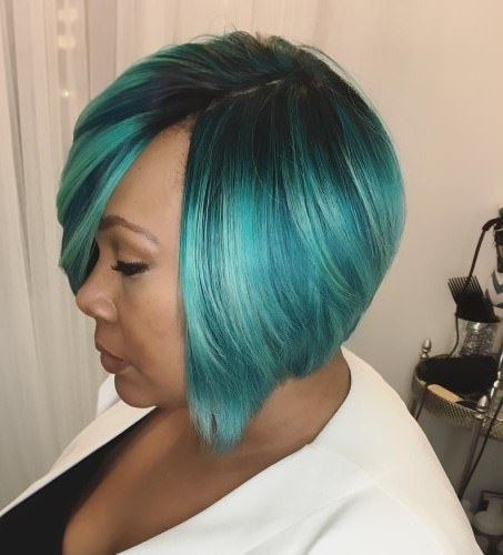 stacked teal weave hairstyles for black women