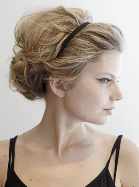 teased updo with cute headband updos for women