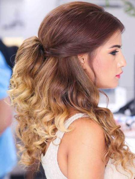tied back ombre curls half up and half down wedding hairstyles