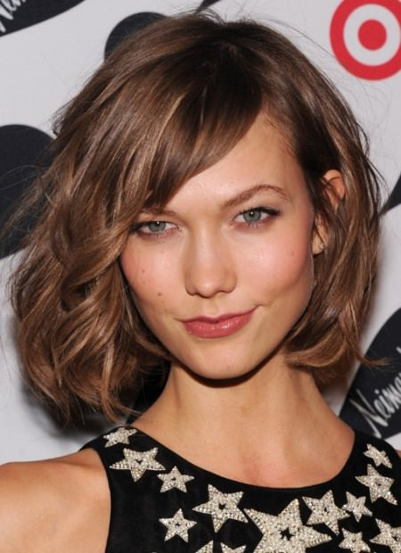 tousled bob with side swept bangs