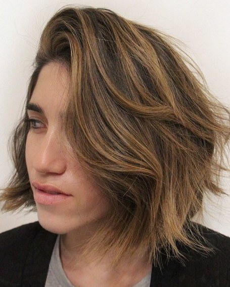 tousled shoulder length cut medium bob hairstyles