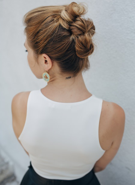 tripple stacked bun updos for long hair