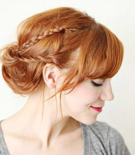 tucked messy updo with a braid and twist braided hairstyles