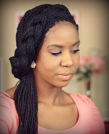 twisted half up half down senegalese twists for black women