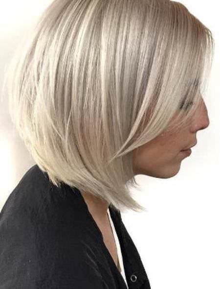 white blonde medium bob hairstyles