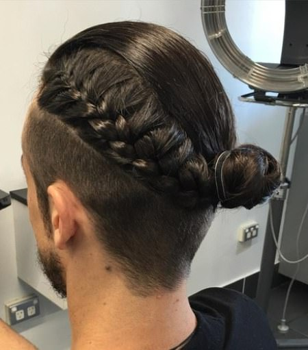 Braided bun with ribbons braids for men