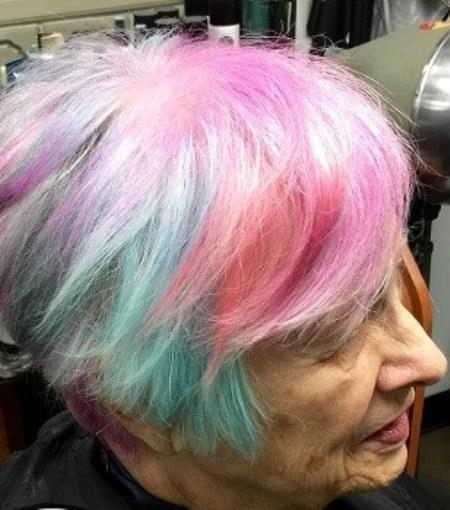 Daring rainbow highlights hairstyles and haircuts for women over 70