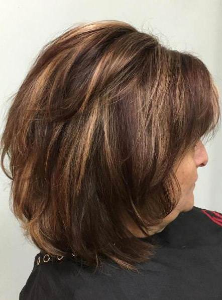 Highlighted brown hairstyles and haircuts for women over 60