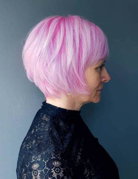 Pink hairod with fringe hairstyle hairstyles and haircuts for women over 60