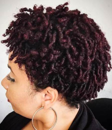 Pretty burgudy ringlets Natural hairstyles for African American women
