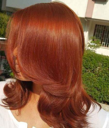 Sassy layered style shades of red hair for women