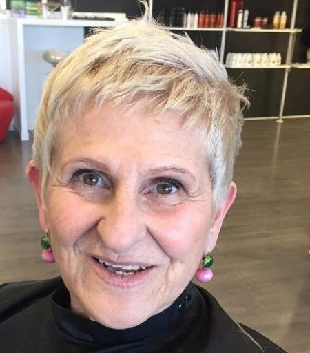 Spiky blonde crop hairstyles and haircuts for women over 70