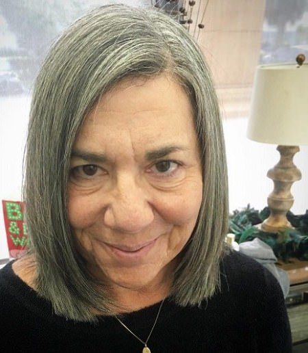 Straight gray bob hairstyles and haircuts for women over 70