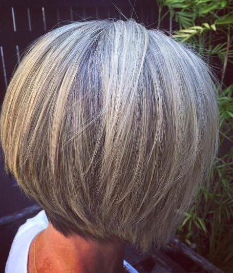 Straight gray hairstyles and haircuts for women over 60