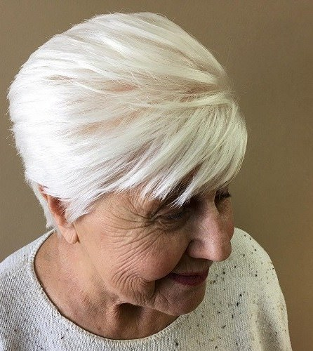 White hair with side bangs hairstyles and haircuts for women over 70