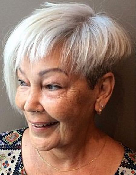 White short asymmetrical bang hairstyles and haircuts for women over 60