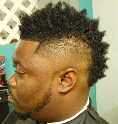 Wide natural hawk with tapered sides mohawk hairstyles for black men