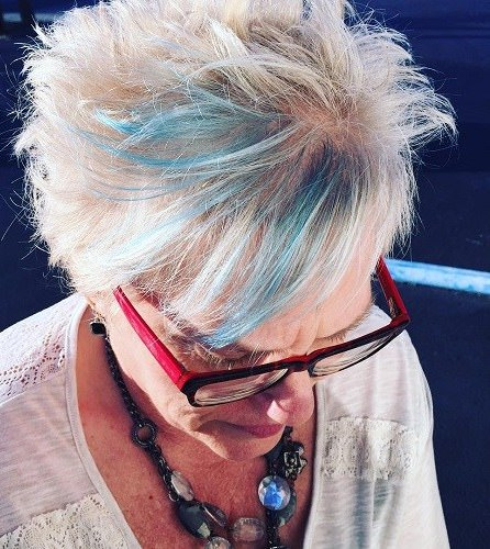 hint of punky blue hairstyles and haircuts for women over 70